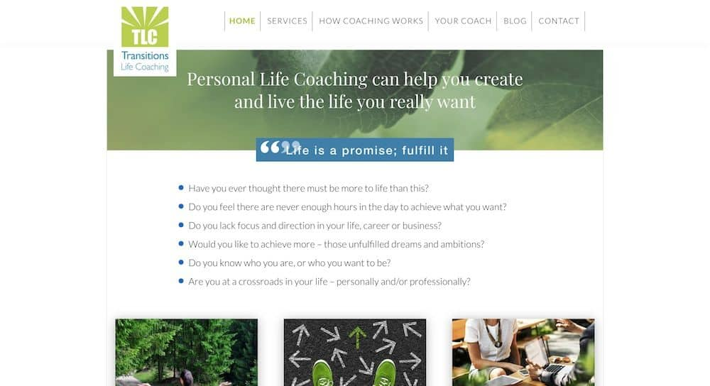 Transitions Life Coaching Homepage